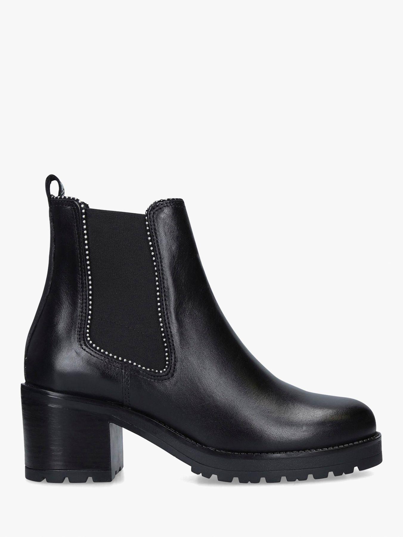 Carvela Carvela Thrill Block Heel Leather Ankle Boots, Black