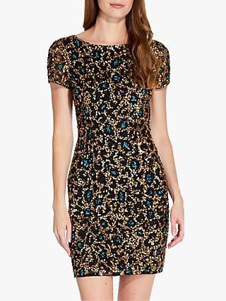 Adrianna Papell Beaded Mesh Dress, Black/Multi