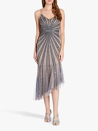 Adrianna Papell Beaded Mesh Dress, Mercury/Nude