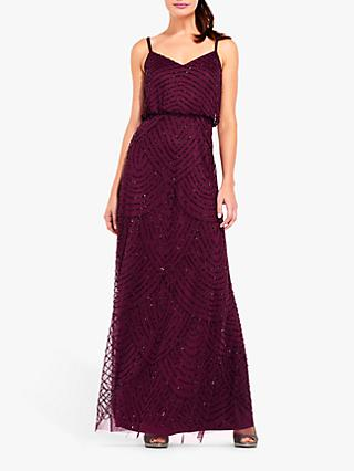 Adrianna Papell Blouson Beaded Maxi Dress, Cassis