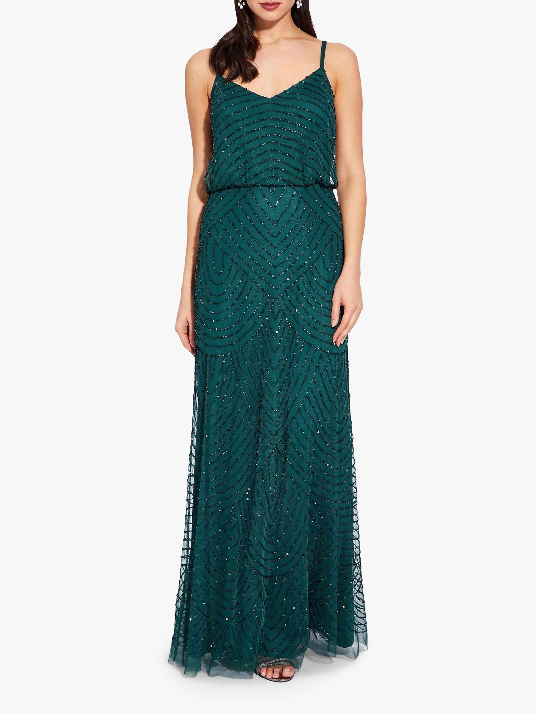 Adrianna Papell Beaded Pattern Maxi Dress, Dusty Emerald by Adrianna Papell
