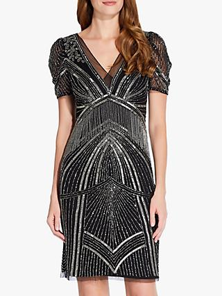 Adrianna Papell Beaded Puff Sleeve Dress, Black/Mercury