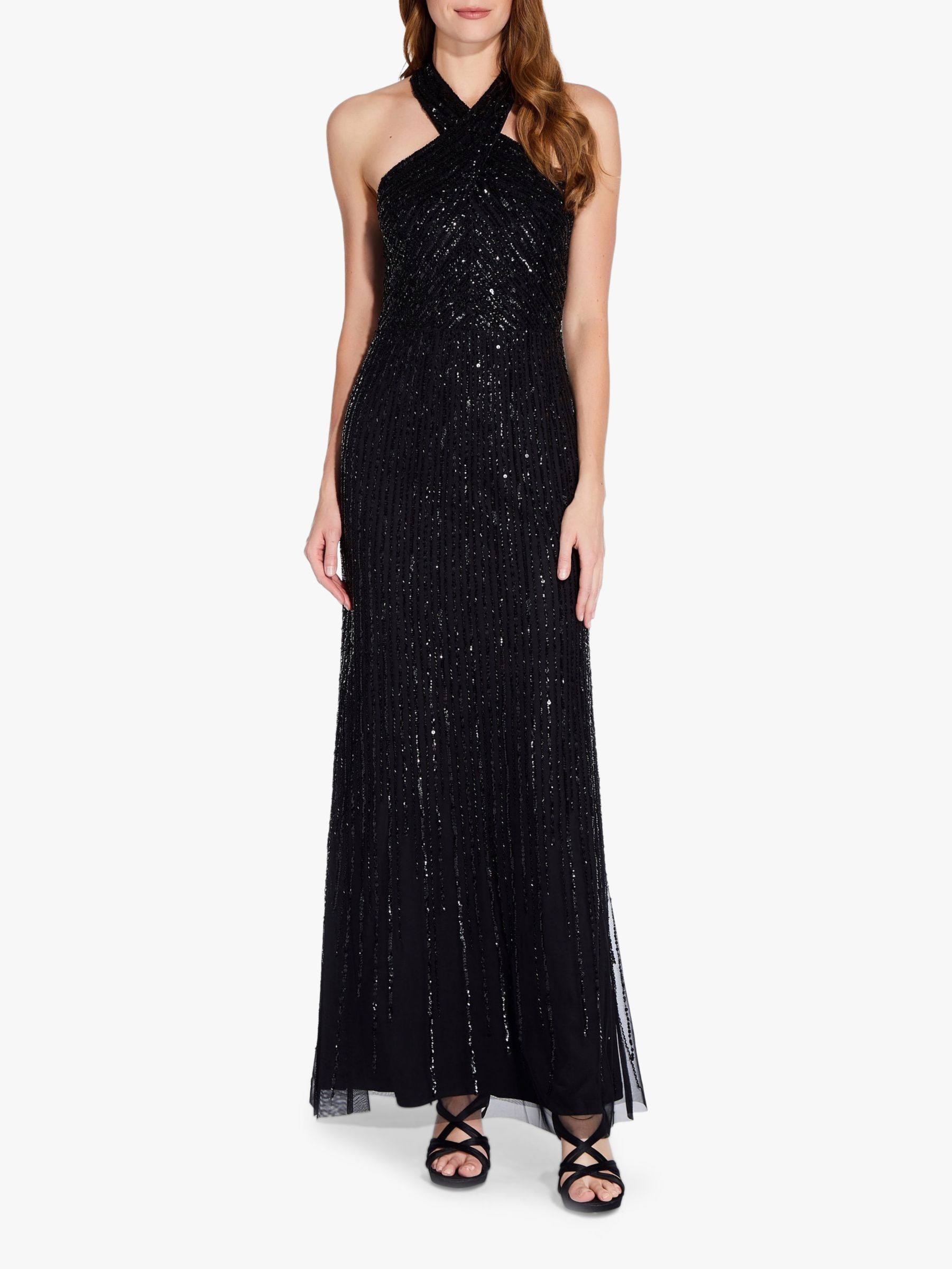 Adrianna Papell Adrianna Papell Halterneck Beaded Gown, Black