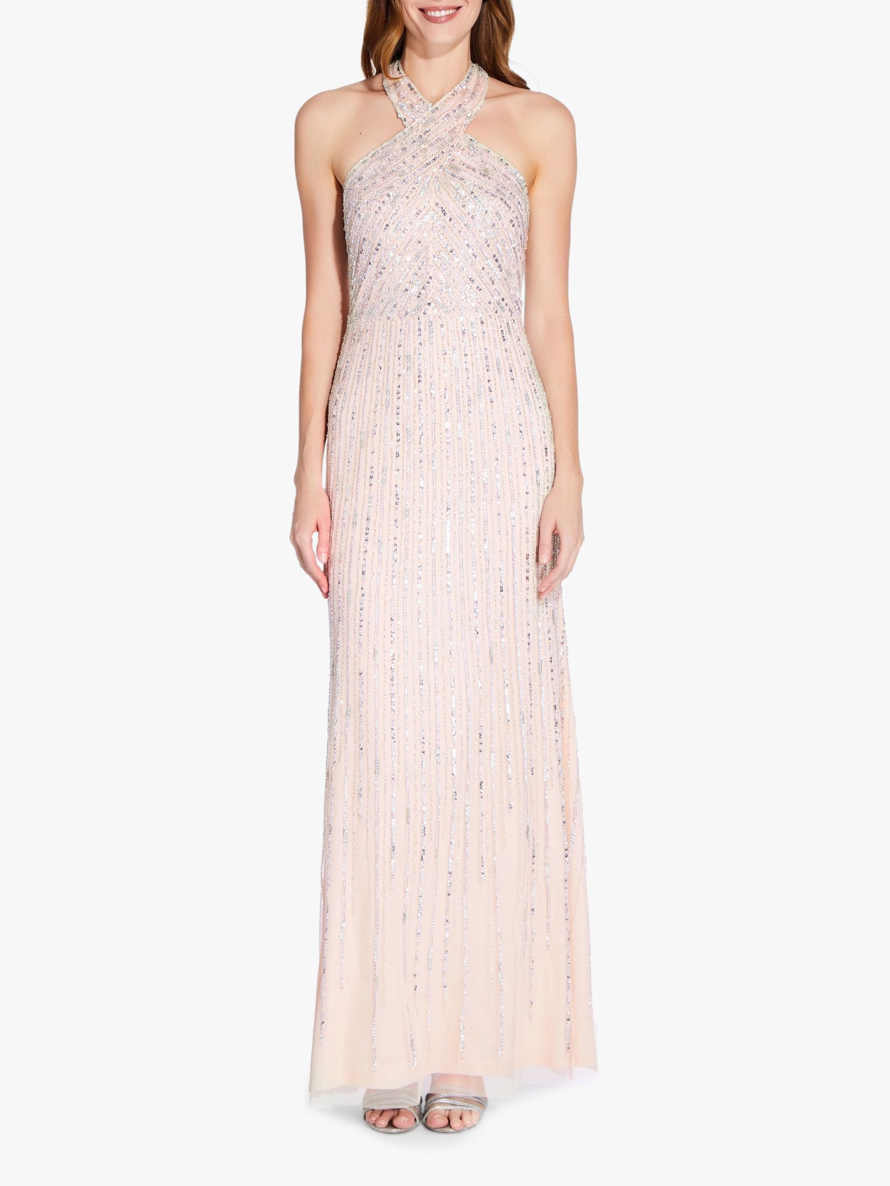 Adrianna Papell Adrianna Papell Halter Beaded Gown, Pale Nude