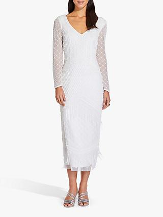 Adrianna Papell Beaded Fringe Dress, Ivory