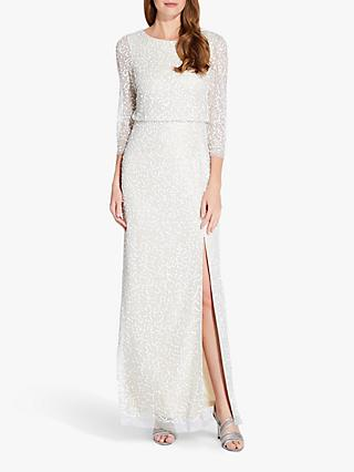 Adrianna Papell Beaded Long Dress, Ivory