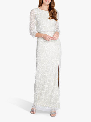 Buy Adrianna Papell Beaded Long Dress, Ivory, 6 Online at johnlewis.com