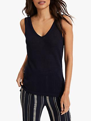 Phase Eight Lou Linen Knitted Vest Top, Navy