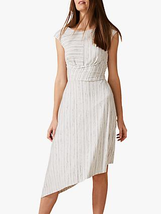 Phase Eight Selby Soft Stripe Asymmetric Hem Dress, Grey/White