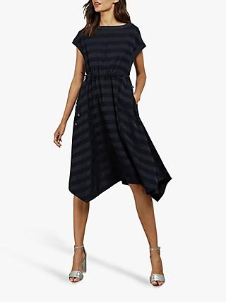 Ted Baker Linnie Striped Hanky Hem Dress, Dark Blue