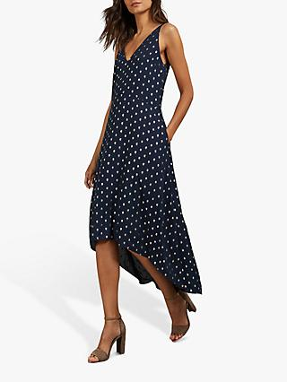 Ted Baker Printaa Polka Dot Skater Dress, Dark Blue