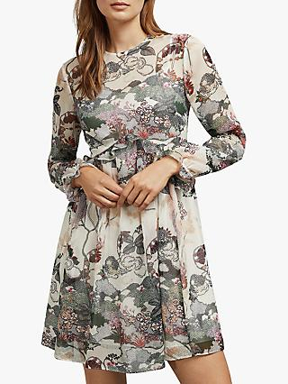 Ted Baker Remorra Ruffle Long Sleeve Dress, Natural Ivory