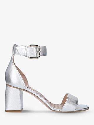 RED Valentino Leather Buckle Block Heeled Sandals, Silver
