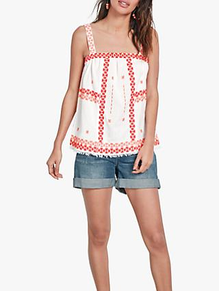 hush Embroidered Bardot Top, White/Pink