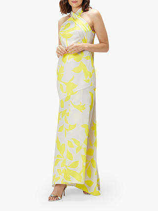Buy Coast Printed Halter Neck Satin Mix, Yellow/Multi, 12 Online at johnlewis.com
