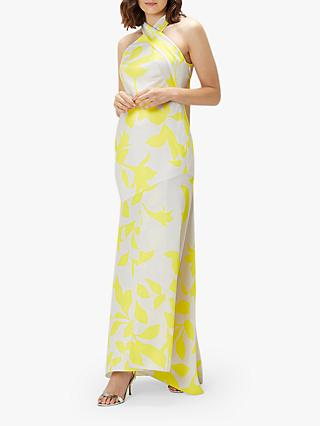 Coast Printed Halter Neck Satin Mix, Yellow/Multi