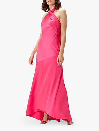 Coast Halter Neck Satin Maxi Dress, Pink