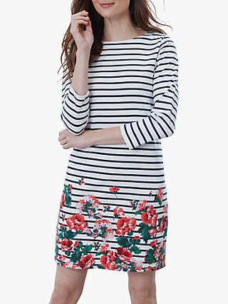 Joules Riviera Floral Stripe Jersey Dress, Cream Rose Border