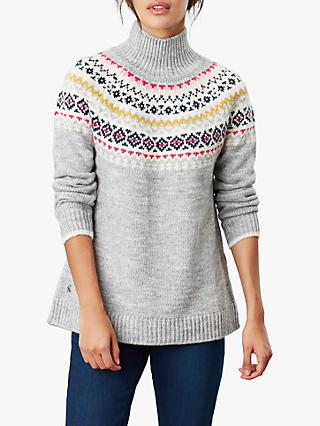 Joules Kirstie Chunky Chunky Knit Fairisle Jumper, Grey