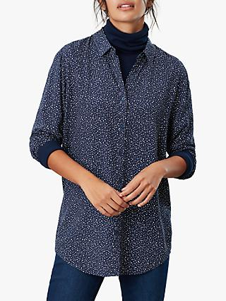 Joules Elvina Spot Star Button Front Top, Navy