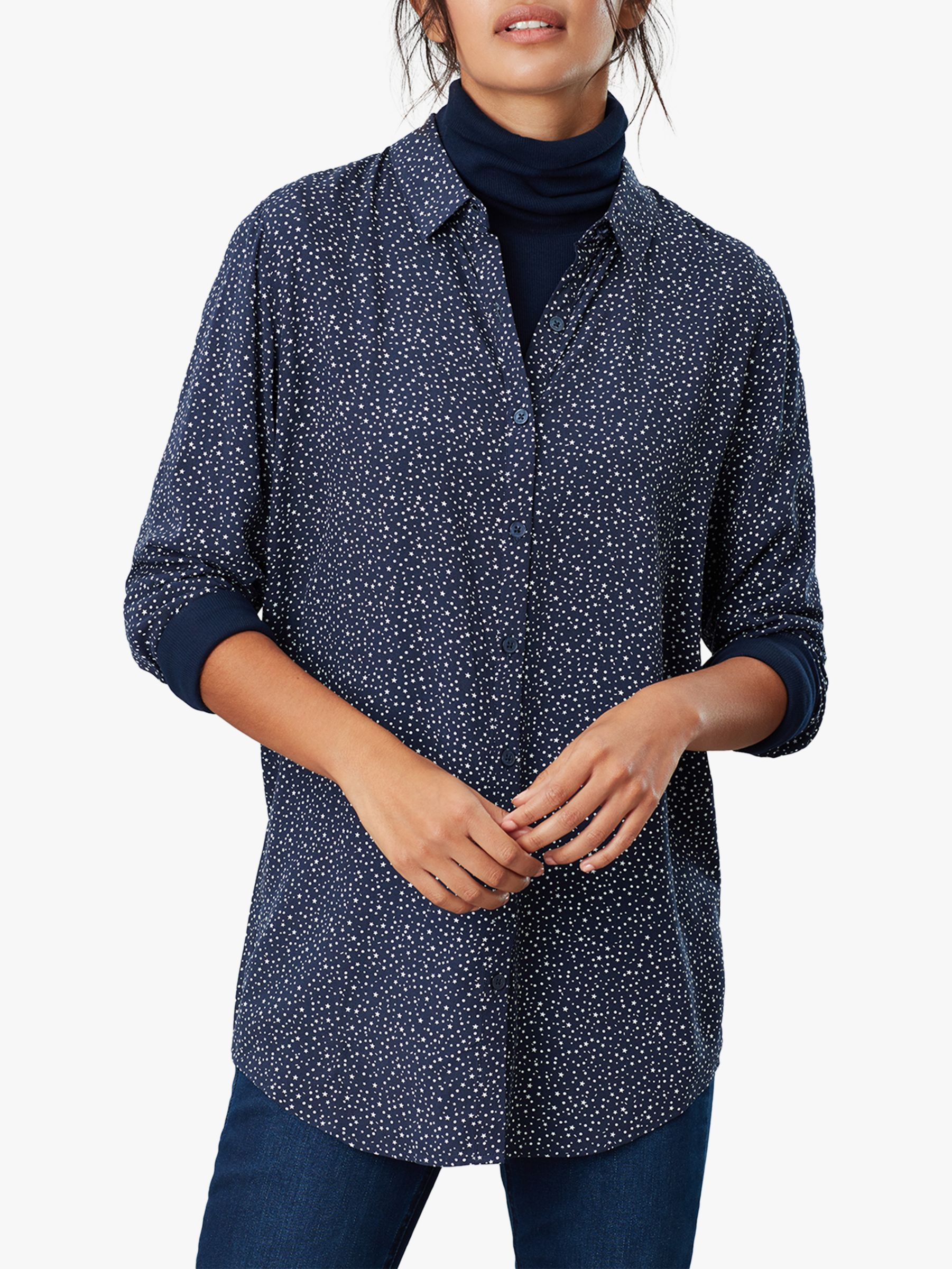 Joules Joules Elvina Spot Star Button Front Top, Navy