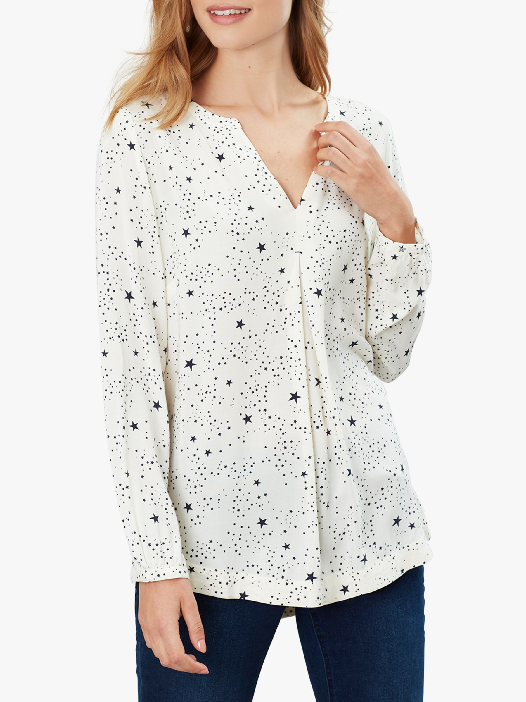 Joules Joules Rosamund Floral V Neck Top, Cream Star