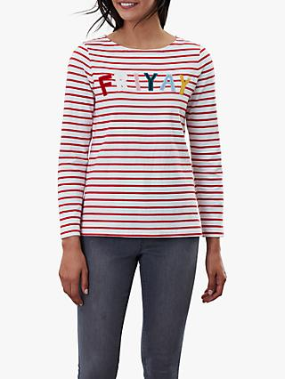 Joules Harbour Luxe Long Sleeve Jersey Top, Red/Multi
