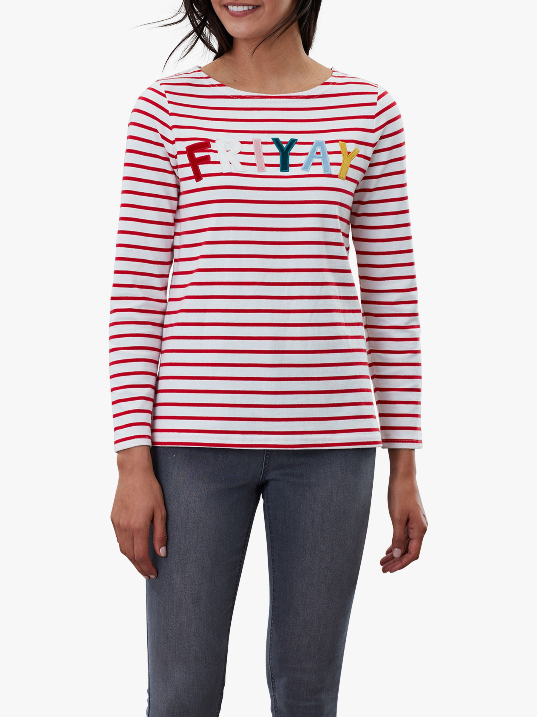 Joules Joules Harbour Luxe Long Sleeve Jersey Top, Red/Multi