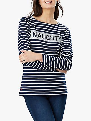 Joules Harbour Luxe Naughty Nice Embellishment Jersey Top, Navy