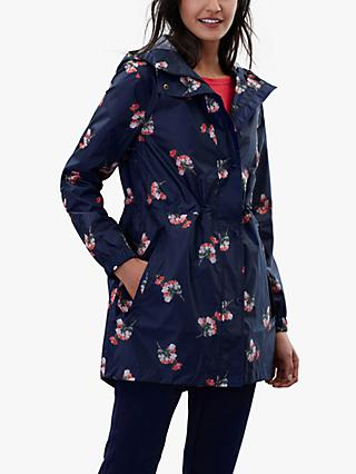 c9ece645c18f Joules Golightly Pack-Away Waterproof Floral Print Coat, Navy Posy