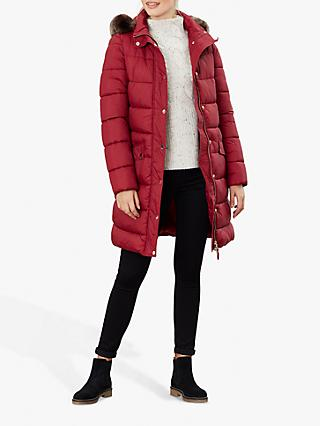 Joules Hartwell Longline Padded Coat, Wine