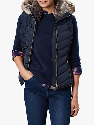 Joules Maybury Chevron Padded Hooded Gilet, Marine Navy