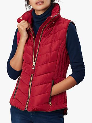 Joules Maybury Chevron Padded Hooded Gilet, Red Wine