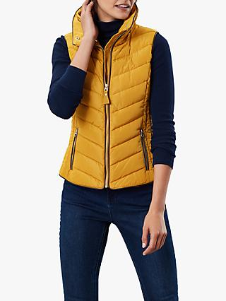 Joules Maybury Chevron Padded Hooded Gilet, Caramel