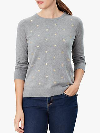 Joules Holly Crew Neck Jumper, Grey Marl