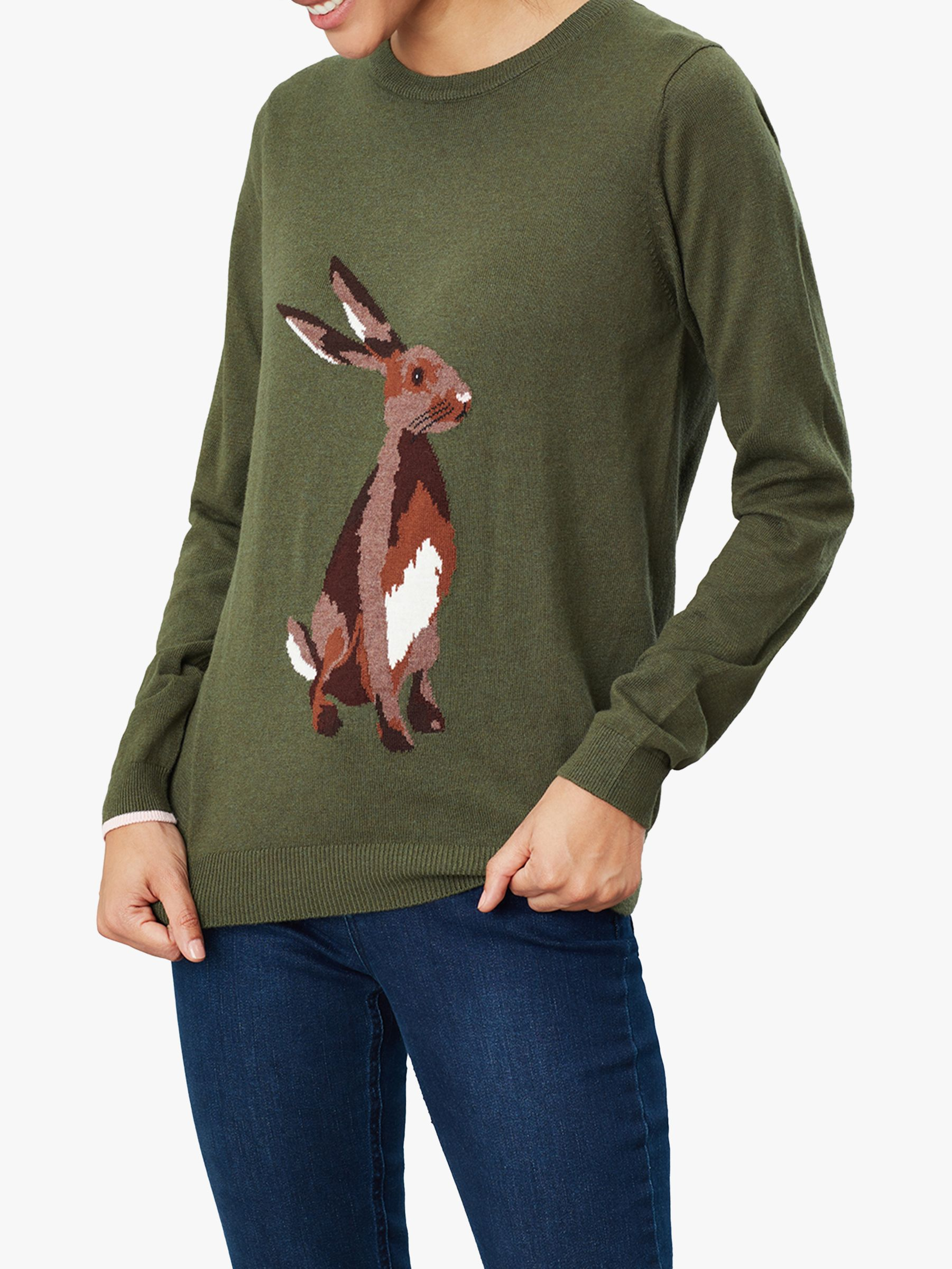 Joules Joules Miranda Crew Neck Jumper, Green Hare