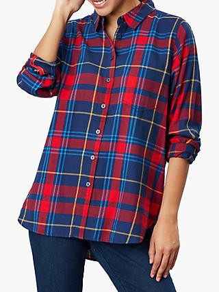 Joules Lorena Longline Brushed Shirt, Red Check