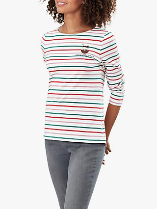 Joules Harbour Getting Figgy With It Embroidered Jersey Top, Christmas Pudding