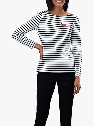 Joules Harbour Embroidered Long Sleeve Jersey Top, Neutral