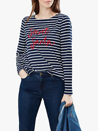 Joules Harbour Secret Santa Embroidered Jersey Top, Navy