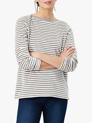 Joules Esme Velour Slash Neck Jersey Top, Grey Cream Stripe