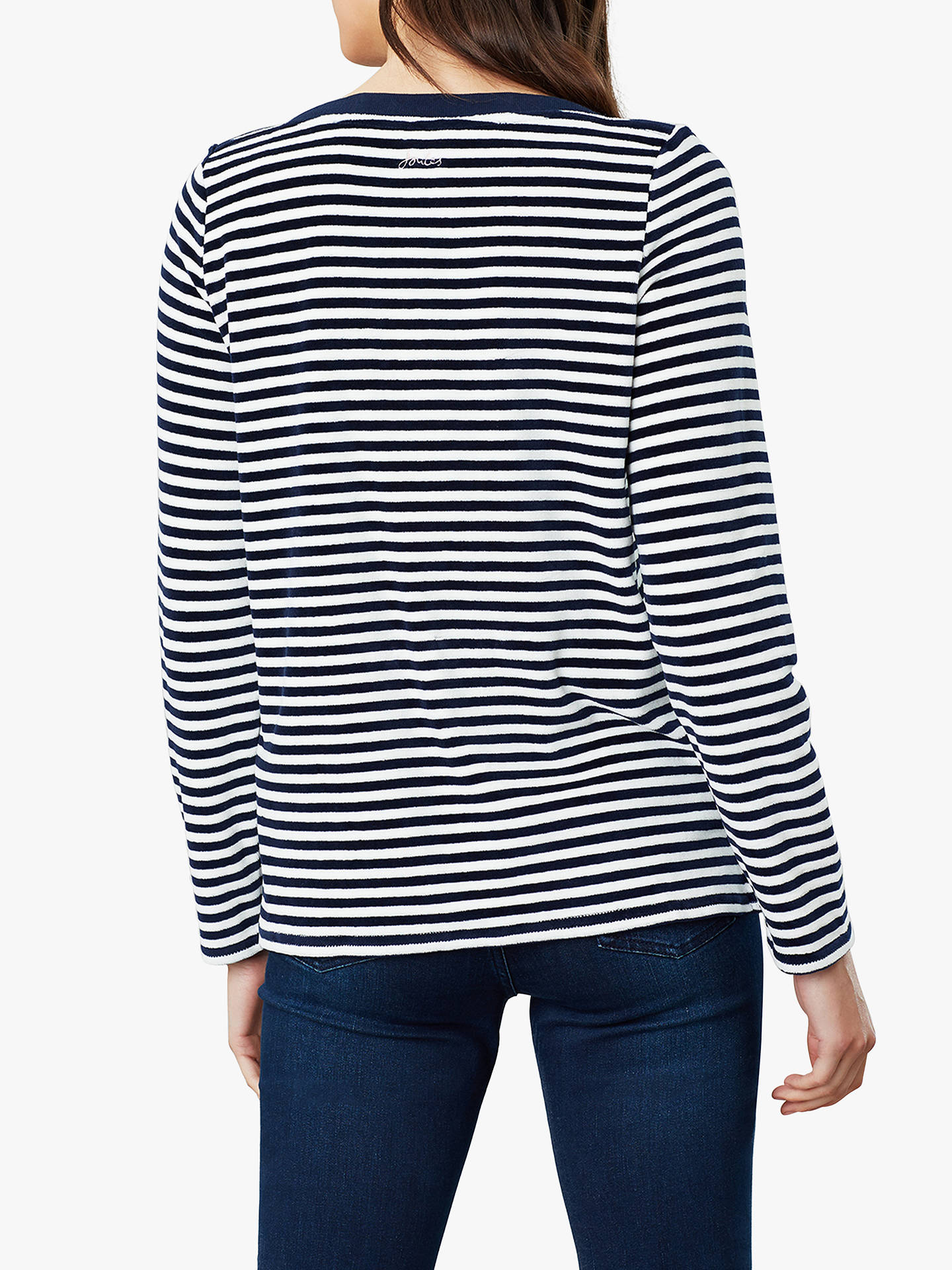 Joules Womens Esme Slash Neck Jersey Top Shirt NAVY CREAM STRIPE