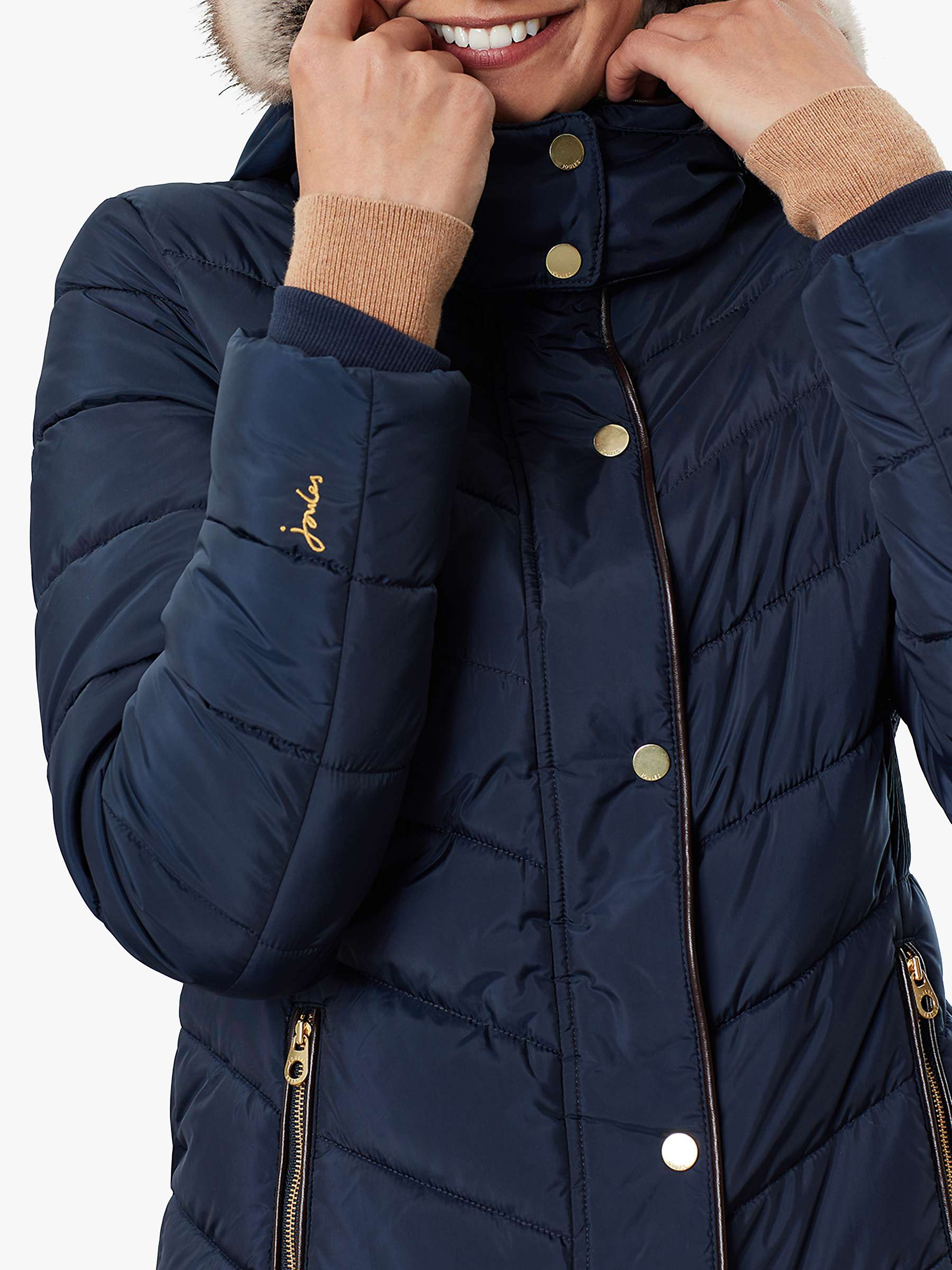 Brand New with Tags Joules Cherington Black Quilted Longline Padded Coat