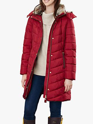 Joules Cherington Chevron Quilted Faux Fur Detail Coat, Red Wine