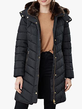 Joules Cherington Chevron Quilted Faux Fur Detail Coat, True Black