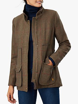 Joules Fieldcoat Tweed Jacket, Green Tweed