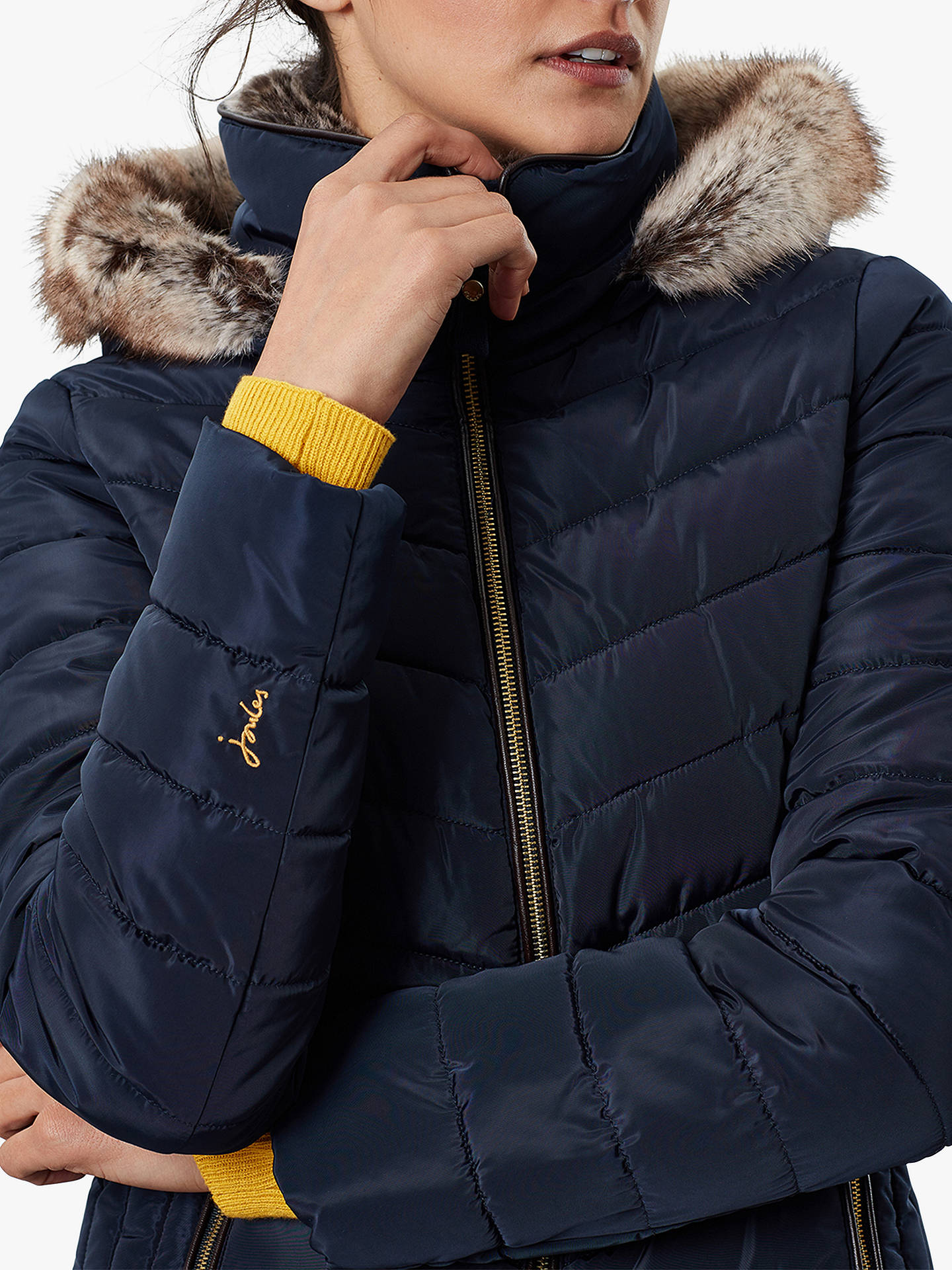 Buy Joules Gosway Chevron Padded Detachable Hood Jacket, Marine Navy, 6 Online at johnlewis.com
