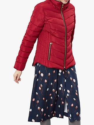 Joules Gosway Chevron Padded Detachable Hood Jacket, Red Wine