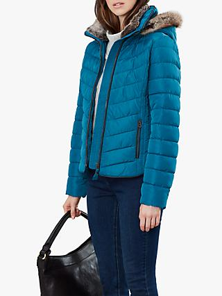 Joules Gosway Chevron Padded Detachable Hood Jacket, Dark Teal