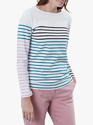 Joules Harbour Long Sleeve Stripe Jersey Top, Cream/Navy